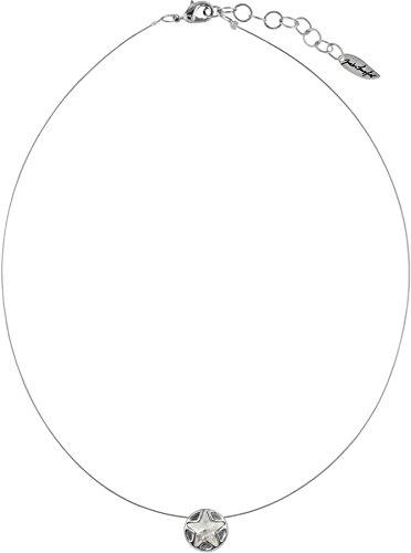 petra kupfer Rhodinierter Sternanhänger Flying Star an hauchdünnem Stahlseil mit Swarovski®-Stern, Farbe:Silver Shade -