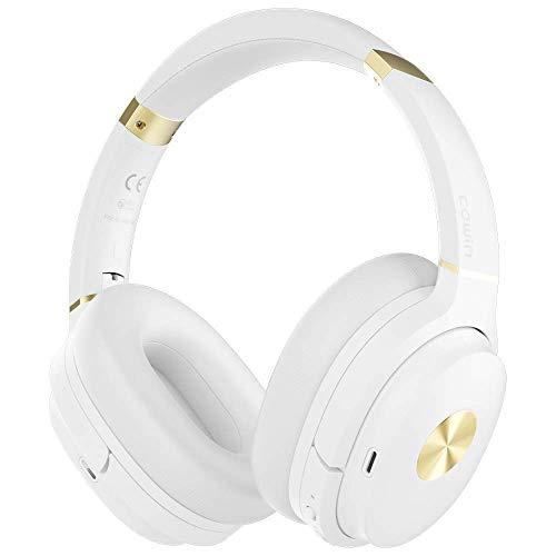 cowin SE7 Casque Bluetooth 5.0 Réduction de Bruit Active sans Fil Micro Intégré/Aptx Casque Pliable 30 Heures d'Autonomie pour Le Travail/Le Voyage (Blanc)