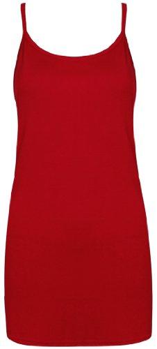 Femmes Neuf Sans Manche Uni Femme Extensible Rond Encolure Ronde Long à lanières T-Shirt Camisole Débardeur Rouge