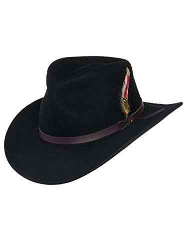 nd Clothing Company Outback Wolle Cowboyhut Montana Knautschbar West Filz für Herren X-groß schwarz ()