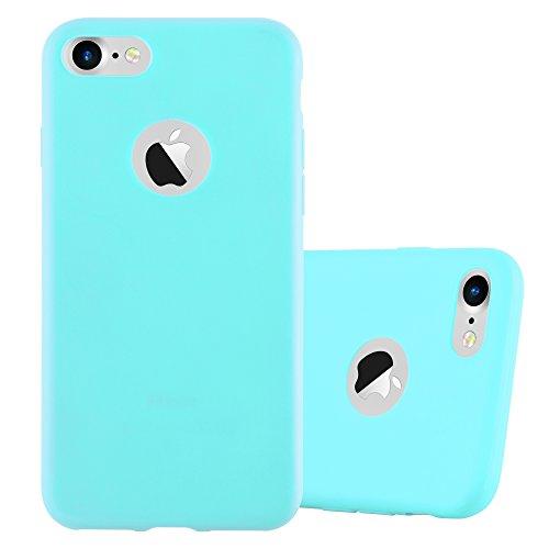 Cadorabo - TPU Ultra Slim Candy Silikon Hülle Case Cover Schutz-Hülle für >          Apple iPhone 8 / 7 / 7S          < in CANDY-SCHWARZ CANDY-BLAU