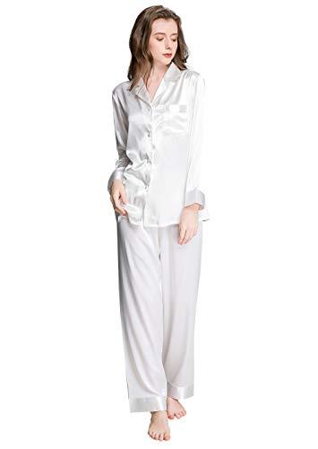 Damen Seide Schlafanzug Pyjama Weiß Medium (Pyjamas Damen-medium)