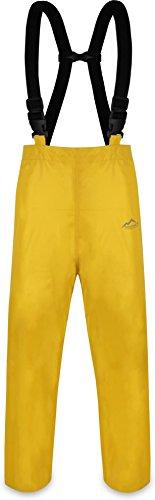 normani Erwachsenen Regenhose ungefüttert mit Hostenträgern, Wind- und wasserdicht sowie atmungsaktiv Farbe Gelb Größe M