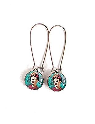 Boucles d'oreilles cabochon 12 mm, Frida Kahlo, bohême chic, boho,
