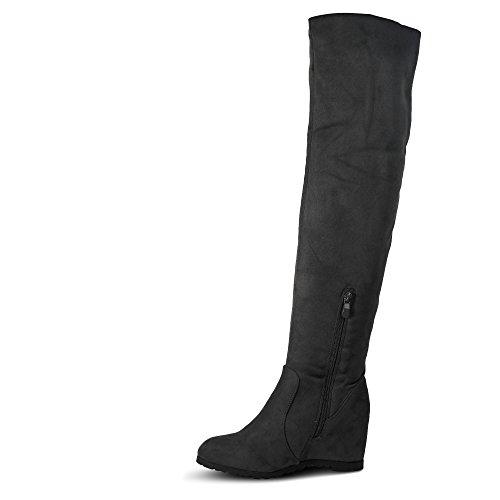 Damen Stiefel Keilabsatz leicht gefüttert High Heels Boots Wedge Stiefeletten JA72 Grau Glitzer