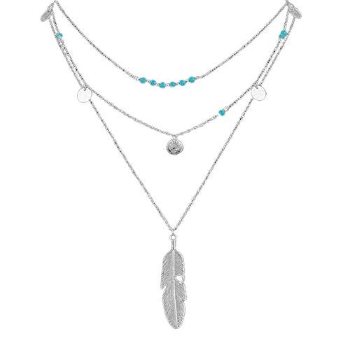 ODJOY-FAN Heiß Mode Gold Frau Halskette Einfach Türkisperlen Pailletten Mehrschichtig Halskette Blatt Halskette Anhänger (Silber,1 PC)