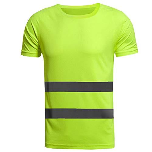 Meijunter Warnschutz T-Shirt - Leichtes Hochsichtbar Reflektierend Oberteile Kurzarm Warnshirt Arbeitshemd Warnschutzkleidung -
