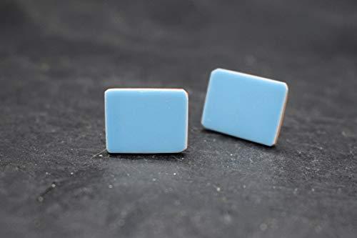 Keramik-Designer-Schmuck für Damen Ohrstecker in hell-blau Handmade Modeschmuck Ohrringe