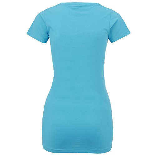 ShirtWorld - Babyhände Zwillinge - Damen Stretch T-Shirt Extralang Türkis