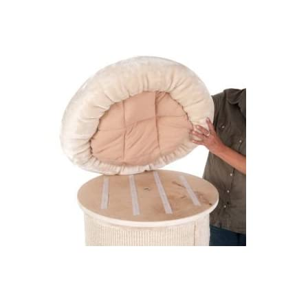 Sturdy Cat Scratching Barrel Three Dens With Individual Removable & Washable Cushions And A Comfy Snuggle Bed - With A Solid Wood Base By eCommerce Exellence 7