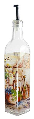 Grant Howard Herbs and Oil Provence Theme Oil & Vinegar Glass Cruet, 470ml, Multicoloured -