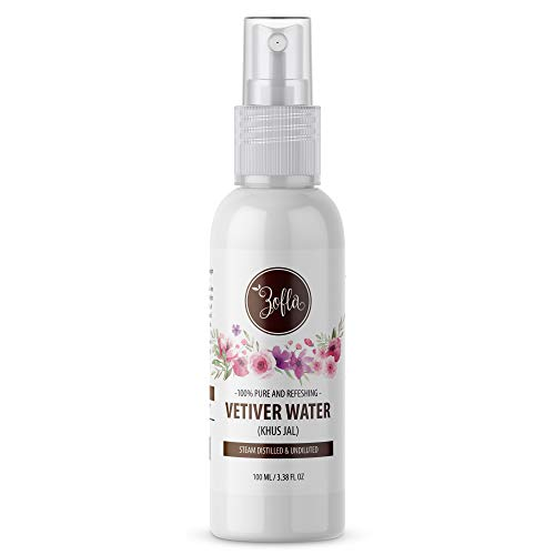 Zofla Natural Vetiver Water/Khus Jal, 100% Natural and Pure - 100ml | Steam Distilled | Chemical Free