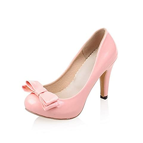 BalaMasa Womens Solid Spikes Stilettos Low-Cut Uppers Pink Patent-Leather Pumps-Shoes - 3 UK