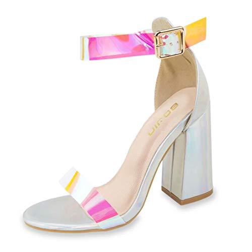 Damen Sandalen Sommer-Sandalen für Frauen Plateau High Heels Block Comfy Party Schuhe, Rot - Rose-Carmine - Größe: 38 EU Caged High Heel