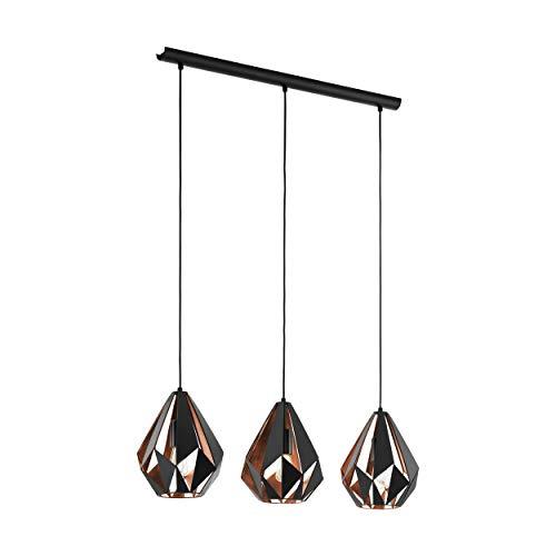 EGLO CARLTON 1 Hängeleuchte, Stahl, 60 W, schwarz, kupfer - 1 Raum Schwarz Stahl