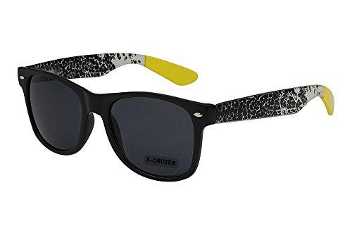 X-CRUZE 8-096 X 16 Nerd Sonnenbrille Style Stil Retro Vintage Retro Unisex Herren Damen Männer Frauen Brille Nerdbrille - schwarz matt/transparent/gelb