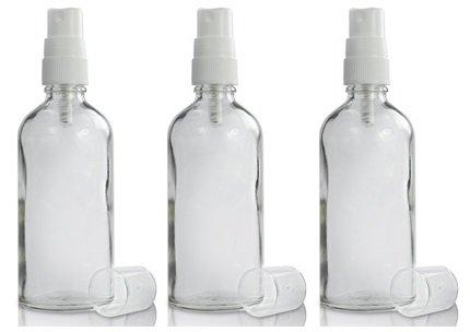3x 50ml Botella de cristal transparente con blanco atomizador pulverizador