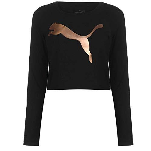 Puma Manica Lunga Ritagliata T-Shirt Donna Nero/Oro Rosa Top Maglietta Athleisure - Nero, UK 14 (Grande)