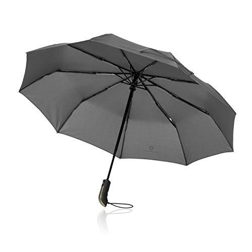 Regenschirm Taschenschirm - VON HEESEN - sturmfest bis 140 km/h - inkl. Schirm-Tasche & Reise-Etui - Auf-Zu-Automatik, klein, leicht & kompakt, Teflon-Beschichtung, windsicher, stabil (Grau)