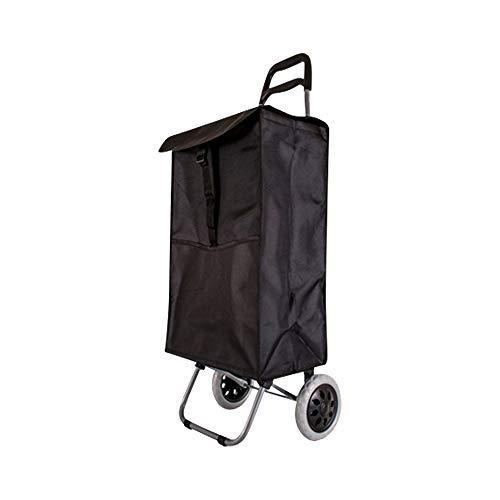 nobrand Einkaufstrolley, hohe Qualität, leicht, große Kapazität 47 Liter, Einkaufstrolley, zusammenklappbar, mit 2 Rädern, mit Halterung für Bremsen, Schwarz