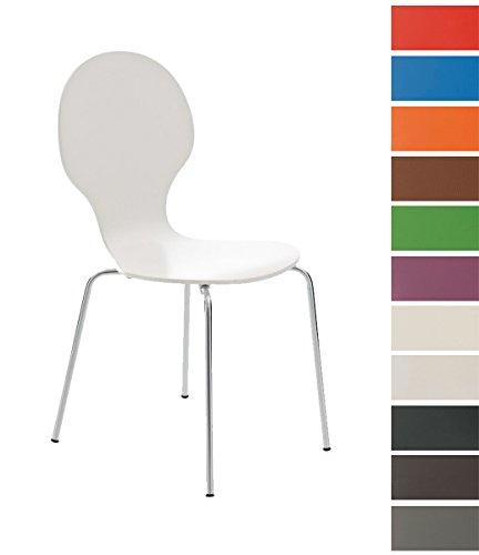 CLP Stapel-Stuhl DIEGO, Holzsitz, robust, pflegeleicht, ergonomisch geformt, 12 Farben weiß