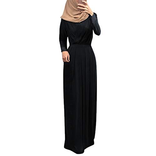 REALIKE Muslim Damen Einfarbig Langarm Kleid Tunika Abaya Dubai Elegant Kleider Maxikleid Abendkleid Knöchellang Kleid Hochzeit Kaftan Robe Gewand Islamische Kleidung Ramadan Gebet Kostüm