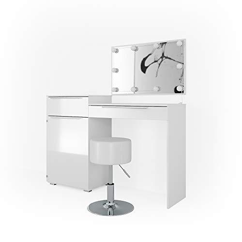 Vicco Schminktisch Little Lilli Weiß Hochglanz mit Hocker und LED Beleuchtung - Frisiertisch Kosmetik Set Design Kommode mit Spiegel (mit Hocker und LED)
