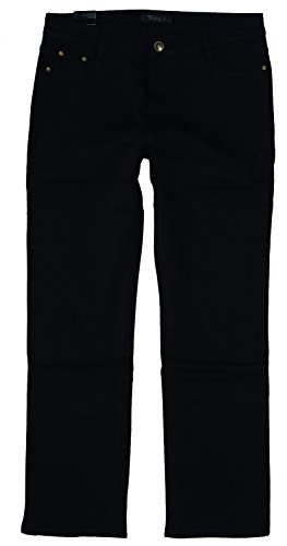 Vidy'l Damen Stretch Jeans Hose gerades Bein MN-777, tief-schwarz 777, Gr.56 W44 (Bein Gerades Jeans Size Plus)