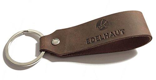 - Brown-leder-schlüsselring (EDELHAUT Schlüsselanhänger in braun aus echtem Leder mit flachem Schlüsselring)