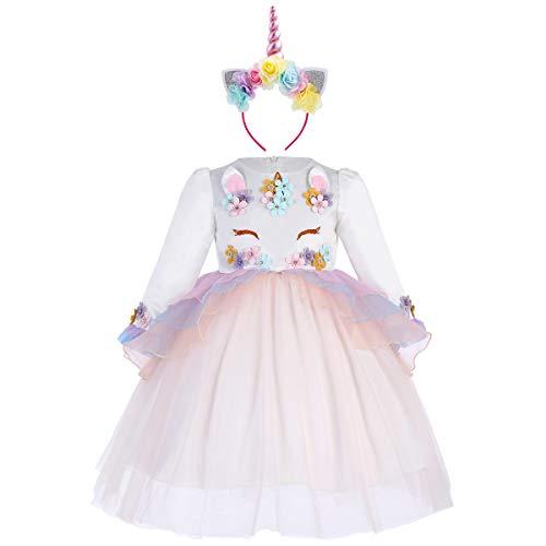 n Kostüm Langarm Kleid Blumen Mädchen Tüll Tütü Prinzessin Partykleid Fasching Karneval Verkleidung Geburtstagskleid Festkleid mit Stirnband Fotoshooting Unicorn Outfit Set ()