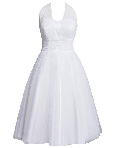 HUINI Brautkleid Damen Elegant Tülle Nackholder Hochzeitskleider Spitzenkleid Knielang Rückenfrei...