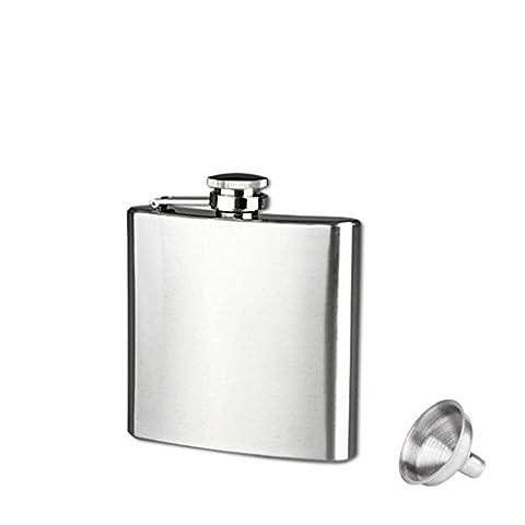 Kolylong Hip Flask, 6 Sizes Stainless Steel Pocket Hip Flask Alcohol Whiskey Liquor Screw Cap + Funnel 4/5/6/7/8/10oz (6oz)