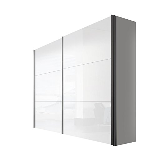 Express Möbel Schwebetürenschrank Weiß Lack 2-türig 250 cm, Korpus Polarweiß, BxHxT 250x216x68 cm, Art Nr. 42680-203