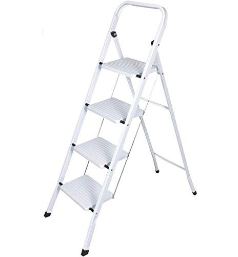 Preisvergleich Produktbild Faltbar 4Schritt Stahl Leiter rutschfeste Stehleiter Sicherheit Küche