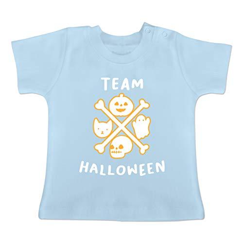 Anlässe Baby - Team Halloween - 1-3 Monate - Babyblau - BZ02 - Baby T-Shirt Kurzarm