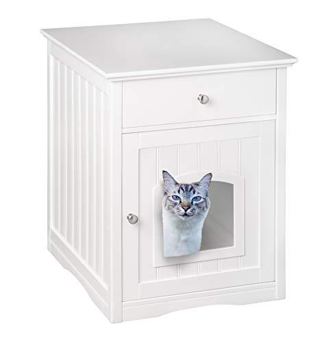 UPP - Armadietto per gatti con cassetto, bianco lucido, dimensioni ideali: 57,8 x 62,2 x 63,5 cm, mobiletto da bagno, armadietto porta lettiera, cuccia per gatti: tutto in uno! Legno certificato FSC.