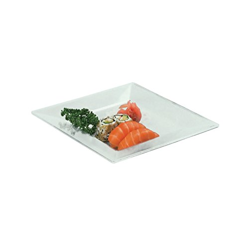FIRST 210AQ2121 Assiette Carréee Creuse Plastique, Transparent, 21,5 x 21,5 x 7 cm