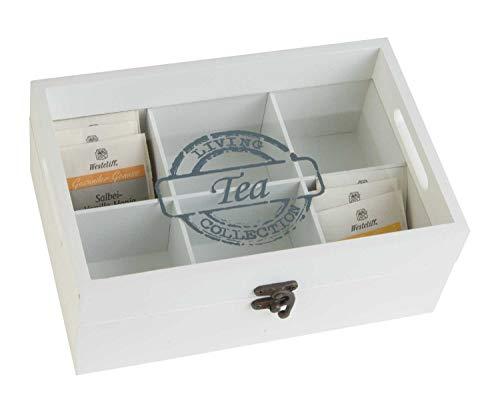 Tee-Box Teekiste Teebeutelbox | Holz | Glas | Weiß | 6 Fächer | Schriftzug