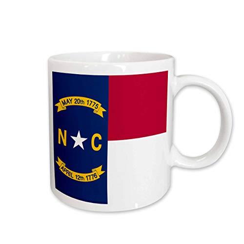 3drose inspirationzstore Flaggen -, Flagge von North Carolina NC-US American United State Of America USA-Rot Weiß Blau-Tolles Wellendichtring, Tassen 15-oz weiß