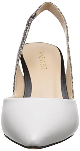Nove in pelle occidentale Rollover pompa Dress Off-White Leather