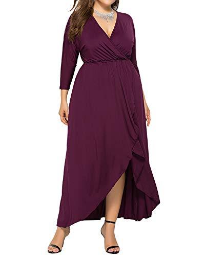 AUDATE Kleider Damen Elegant Maxikleid Große Größen Kleid Unregelmäßiges Lange Swing Kleider Fuchsia DE 44
