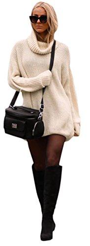 Damen Strickpullover Sweater Rollkragen Pullover Jumper Strick Pulli Oversize (648) (Beige) -