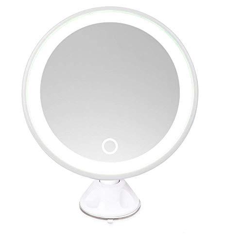 NRG Clever® LMRWA7X, Miroir 7X blanc rechargeable avec éclairage à LED, Base avec ventouse et un système d'aspiration, à 360 ° de rotation, grossissement 7X, ronde, idéale pour le rasage et le maquillage. Livré avec câble de recharge USB. Parfait pour la salle de bain et la chambre à coucher. (Interrupteur arrière)