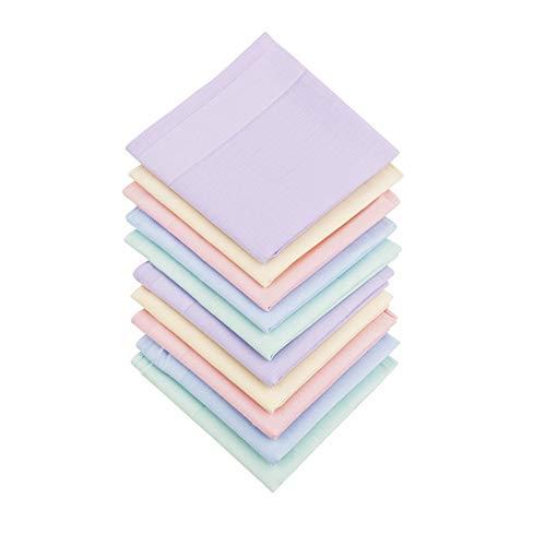 HOULIFE 10 Stücke Damen Taschentücher aus Reiner Baumwolle mit Spitzen 40x40cm 5 Farben für Alltagsgebrauch&Hochzeit