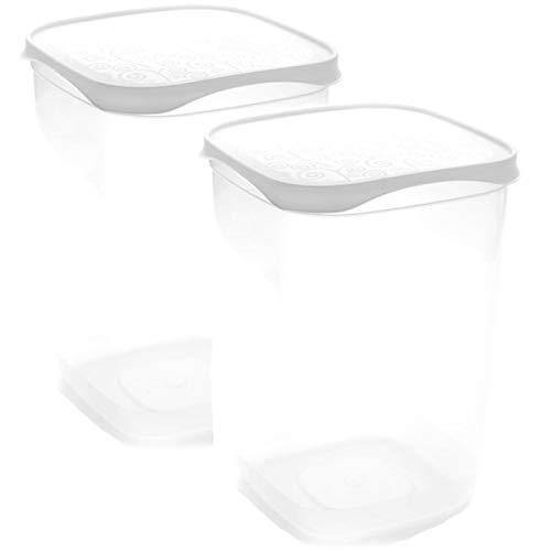 Set de 2 Coupelles hermeticos carrés avec couvercle Blanc de 2 litres - BPA Free.