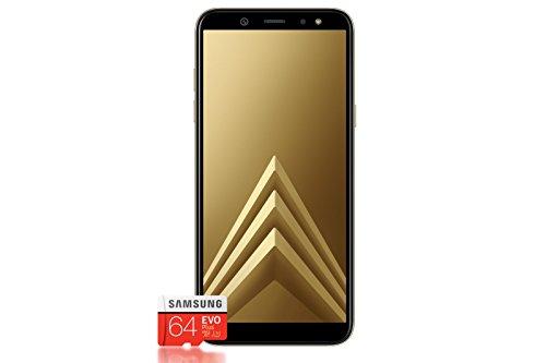 Samsung Galaxy A6+ Smartphone Bundle (6,0 Zoll, 32GB interner Speicher) + Samsung EVO Plus 64 GB Speicherkarte - Deutsche Version