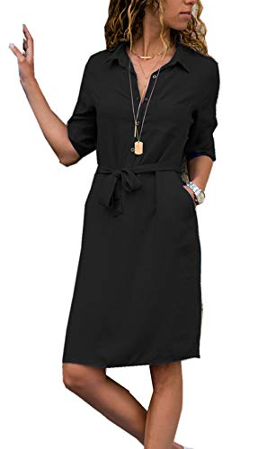 ZIYYOOHY Damen Casuel Hemdkleid Shirt Kleid Knielang Button Down V-Ausschnitt Blusenkleid Mit Gürtel (L(EU40), Schwarz)