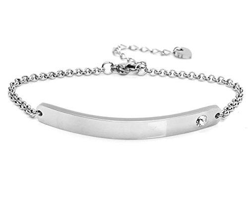 """Silvity Damen Gravur-Armband Edenlstahl veredelt mit einem Swarovski¨ Kristall Motiv:\""""Individuell\"""" 16,5 cm bis 20,5 cm Frabe: Silber"""