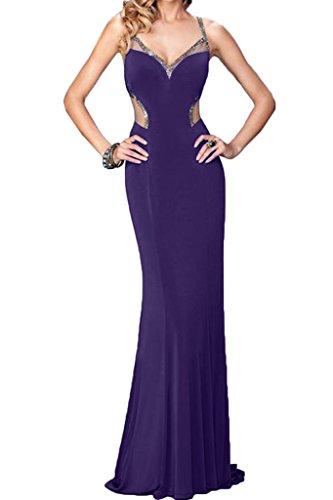 ivyd ressing sessualmente da donna scollo a V pietre linea Custodia Rueckenfrei Party Festa Prom abito abito sera vestito Violett