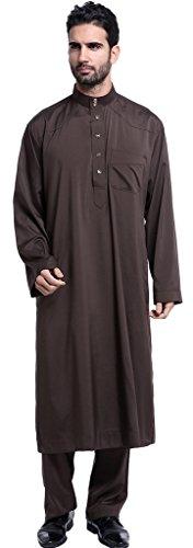 Ababalaya Herren Langarm Stehkragen Muslimische Feste Salwar Anzüge Dubai Robe-Sätze,Kaffee,M (Salwar Baumwolle Braun)